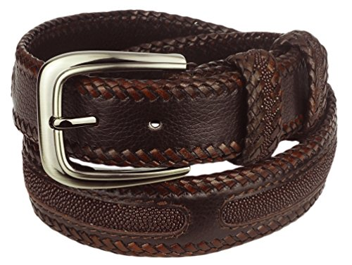 Leather Belt, Stingray Leather Inlay, Brown Leather, Brown Stingray, Size 34