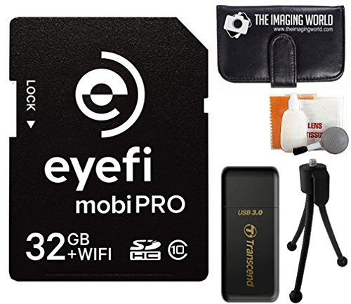 Eye-Fi 32GB SDHC Mobi-Pro WiFi Wireless Class 10 SD Wi-fi Memory Card with 1-Year Eye-Fi Cloud Service - MOBIPRO-32 + USB 3.0 High Speed Card Reader + Memory Card Wallet + Tabletop Tripod + Digital Camera Cleaning Kit