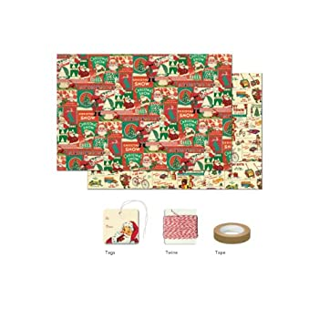 Cavallini Papers 4-Sheet Wrap Pack, Vintage Christmas