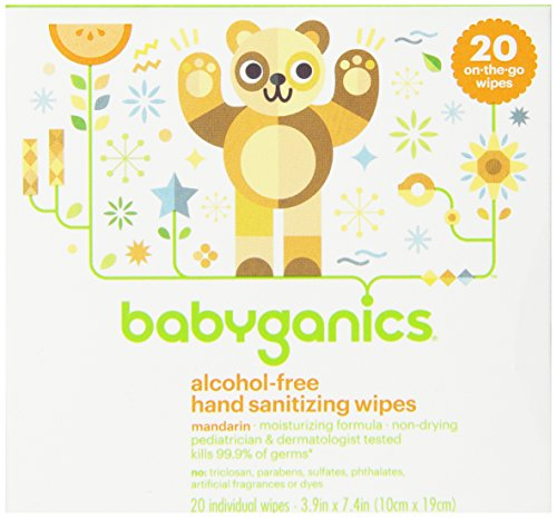 Babyganics Alcohol-Free Hand Sanitizing Wipes, Light Citrus, 20 On-The-Go Wipes, Packaging May Vary
