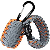"Dimples Excel ""Adventure"" Set: Parachute Cord Paracord Survival Bracelet for Wrist Approx.18cm-20cm (7""-8"") with Stainless Steel Black Bow Shackle + Carabiner ""Grenade"" Survival Kit"