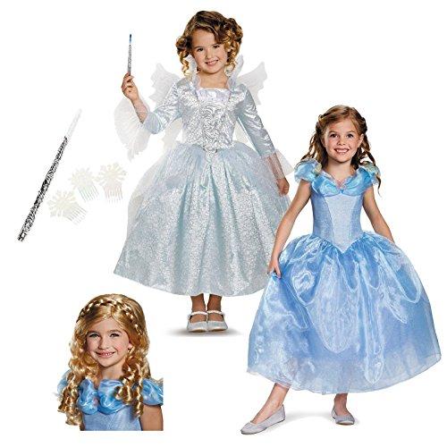[Disney Cinderella and Fairy Godmother Costume Bundle Set - Toddler 3T-4T] (Girls Cinderella Costumes Wig)