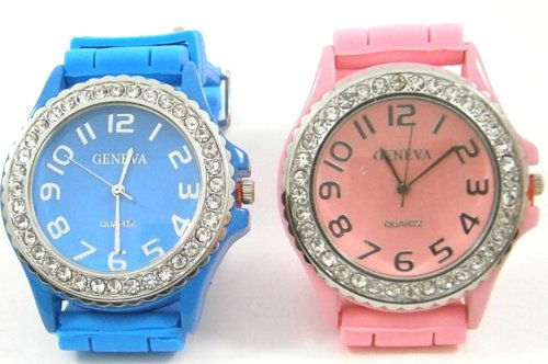 Pink Blue 2 Pack Geneva Crystal Rhinestone Large Face Watch With Silicone Jelly Link Band