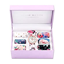buy Womens Scarf Band Wrist Analog Watch Set With Changeable Extra Scarves Japan Movement (Gold Color)
