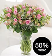 Pretty Pink Bouquet with 50% Extra Roses Free