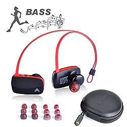 Avantree aptX Wireless Bluetooth 4.0 Earbuds, Super Bass Lightweight Voice Prompts in Ear Universal Sport Headphones - Sacool Pro Black