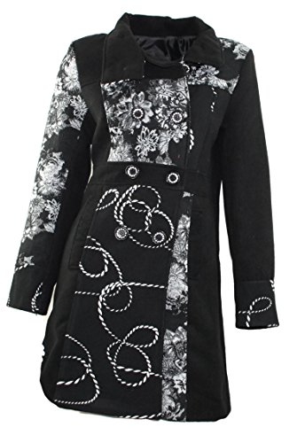 #947 Damen Mantel Jacke Patchwork Winter Trenchcoat Wintermantel Braun Beige Grün 36 38 40 42 44 46 (40, Schwarz)
