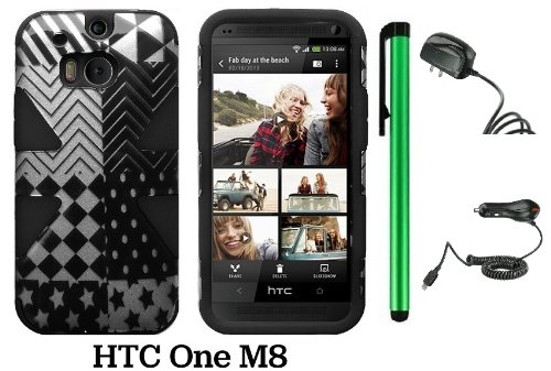 Htc One (M8) Dynamic Slim Hybrid Premium Pretty Design Protector Cover Case + Travel (Wall) Charger & Car Charger + 1 Of New Assorted Color Metal Stylus Touch Screen Pen (Checkered Star Plastic / Black Silicone)