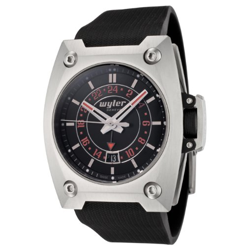 Wyler Geneve Men's 200.4.00.BO2.RBA Code R Collection Automatic GMT Black Rubber Watch