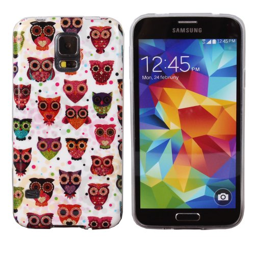 Teenitor(Tm) Stylish Bling Cute Cartoon Owl Tpu Protective Case For Samsung Galaxy S5,With Screen Protector, Stylus, Earphone Cable Organizer (Shipping From Usa)