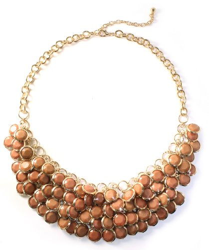 Hugssy Bib Necklace, Brown Chunky Necklace, Statement Necklace