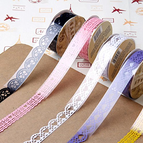 5pcs-Ruban-Adhsif-Dentelle-Autocollant-Dcoratif-Ornement-Masking-tape