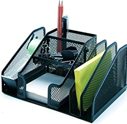 Multi use Mesh All In One Desktop organizer with tape dispenser Black