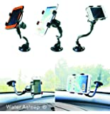 WATER ASLEEP One Touch Windshield Universal Smartphone Car Mount Holder Cradle for Iphone 6s 6s Plus 6s+  6 6+ 5 5s 5c 4 4s Samsung Galaxy S6 S6 Edge+ S5 S4 S3 Note 5 4 3 2 HTC M9 M8 Lg G3 G2 and All Smartphones (Gift Retail Package)Black