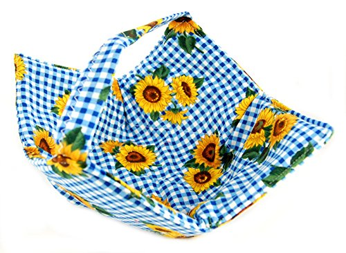 Fabric Microwave Bowl With Handle - Handmade In The Usa - Sunflowers
