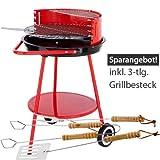 Grill Rundgrill Holzkohlegrill 3-Bein-Rundgrill fahrbar rot 50 cm Set inkl. Grillbesteck