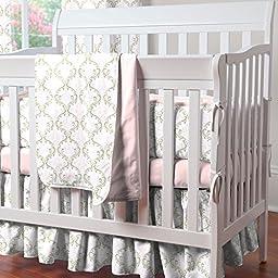 Carousel Designs Pink and Taupe Damask Mini Crib Bumper