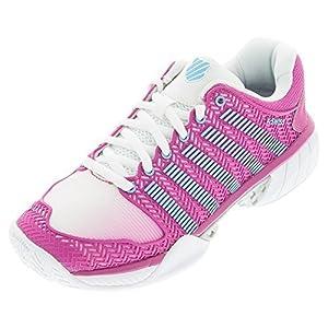 K-Swiss Women's Hypercourt Express Tennis Shoe-7 B(M) US-White/Very Berry/Bachelor Button