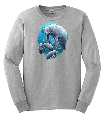 Express Yourself Adult Manatee And Babies Long Sleeve T-Shirt (Ash - Large) front-801716