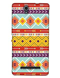 PrintHaat Designer Back Case Cover for Sony Xperia C3 Dual :: Sony Xperia C3 Dual D2502 (designer pattern :: decorative design :: zig zag design :: multicolor design :: latest trendy design :: excellent drawing design :: good looking art design :: in black, green, red, blue and yellow)