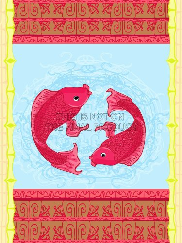 Painting Drawing Japanese Koi Carp Fish Pond Style Art Print Poster Mp3790B