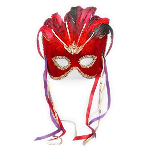 theater Costume Mask Venetian Mask Mardi Gras Masque Masquerade Ball Red Velvet