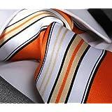 """Krawatte von Mailando, Streifendesign, orange- weissvon """"Mailando"""""""