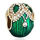 Pugster 22k Golden Emerald Green Drip Gum Petals Clear Crystal European Faberge Egg Beads Fits Pandora Charms Bracelets