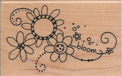 Bloom Swirl Wood Mounted Rubber Stamp (M214)