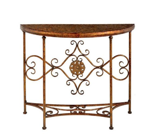 Cheap Crescent Console Table Scroll Bottom Shelf and Back in Gold (B003INIPNA)