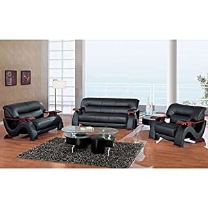 2033 Black Modern Living Room Set Living Room Furniture Sets