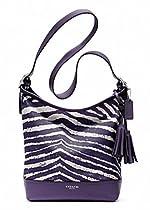 Coach Legacy Zebra Print Zip Duffle Bag 23410 Marine Purple White