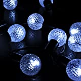 M&T TECH 30 Round Ball Christmas Lights Outdoor Solar String Lights For Patio Party Garden Lawn Fence pergolas-White