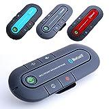 車載用 ハンズフリー スピーカー Bluetooth3.0 サンバイザー バイザー クリップ カースピーカー DSP エコーキャンセル ◇CAR-PHONE (レッド)