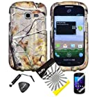 4 items Combo: ITUFFY LCD Screen Protector Film + Mini Stylus Pen + Case Opener + Pine Tree Leaves Camouflage Outdoor Wildlife Design Rubberized Snap on Hard Shell Cover Faceplate Skin Phone Case for Samsung Galaxy Centura S738C / Samsung Galaxy Discover S730G (Straight Talk / Net10/ TracFone)