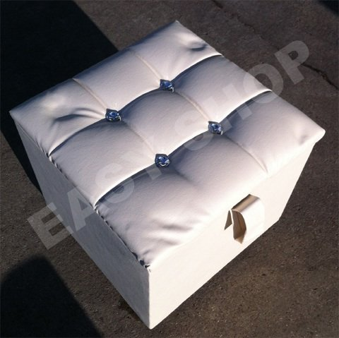 Cube Faux Leather Ottoman Pouffe Footstool Stool Toy Storage (White)