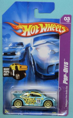 Mattel Hot Wheels 2007 # 039 Pop-Offs 1:64 Scale Teal Green Volkswagen New Beetle Cup Die Cast Car - 1