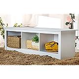 Merax Soild Wood Entryway Storage Bench Organizer 3 Cubbie Bench Shoe Storage Organizer (White)