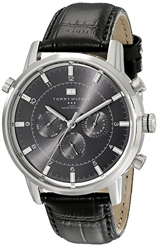 Tommy Hilfiger Men's 1790875 Sport Luxury Stainless Steel Watch with Black Leather Band - 51RmQq3y2ZL - Tommy Hilfiger Men's 1790875 Sport Luxury Stainless Steel Watch with Black Leather Band