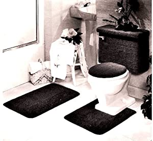 5 PIECE BLACK BATHROOM RUG SET, INCLUDES AREA RUG, CONTOUR RUG, LID COVER AND TANK SET - COLOR: BLACK