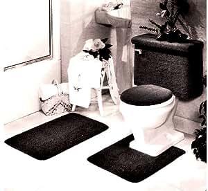5 PIECE BLACK BATHROOM RUG SET, INCLUDES AREA RUG, CONTOUR RUG, LID COVER AND TANK SET - COLOR: BLACK