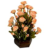 Thefancymart artificial Dry tube Rose Peach Flowers with Wooden pot Style Code- 156