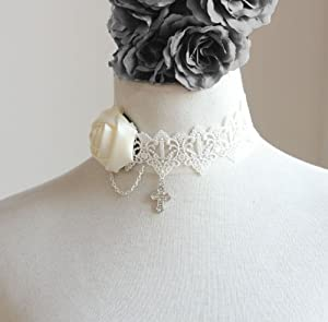 Fashion Sweety Handmade White Lace Fake Collar Necklace Women Lady Dress Exaggerated Accessories