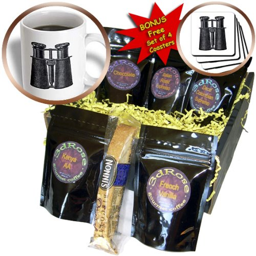 Cgb_174144_1 Florene - Vintage Ii - Image Of Antique Binoculars In Black - Coffee Gift Baskets - Coffee Gift Basket