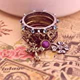 niceEshop(TM) 1 Set (4pcs) Unique Vintage Antiqued Rhinestone Clover Cross Ring Set Gift For Girls-Multi Color