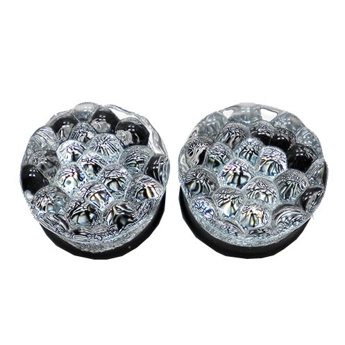 Silver Colored Foil Bubbles Textured Double Flare Handmade Glass Plugs - 9/16