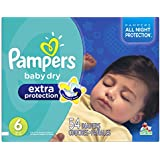 Pampers Baby Dry Extra Protection Diapers Super Pack, Size 6, 54 Count (Packaging May Vary)