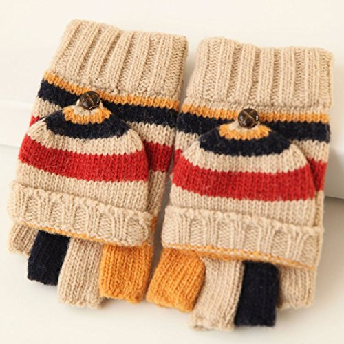 BBSLT Fleece gloves warm padded half a couple of gloves for men and women hit the color flip knit warm woolen gloves,Light khaki (female)