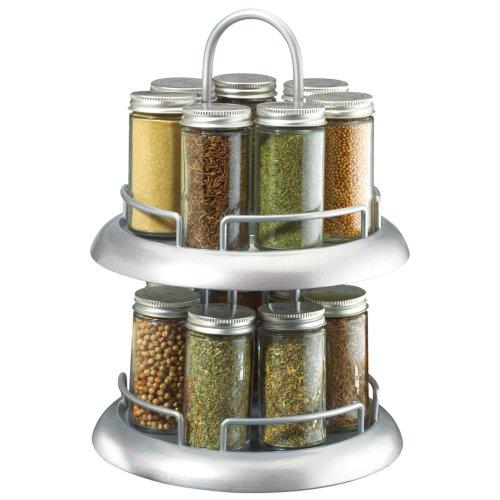 Kamenstein 16 jar lazy susan spice rack w metal caps spice racks for kitchen - Spice rack for lazy susan cabinet ...