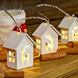 Guirlanda con 6 casitas de madera con renos, 1 m, a pilas, LED luz cálida, luz fija e intermitente, luces árbol de Navidad, decoración navideña
